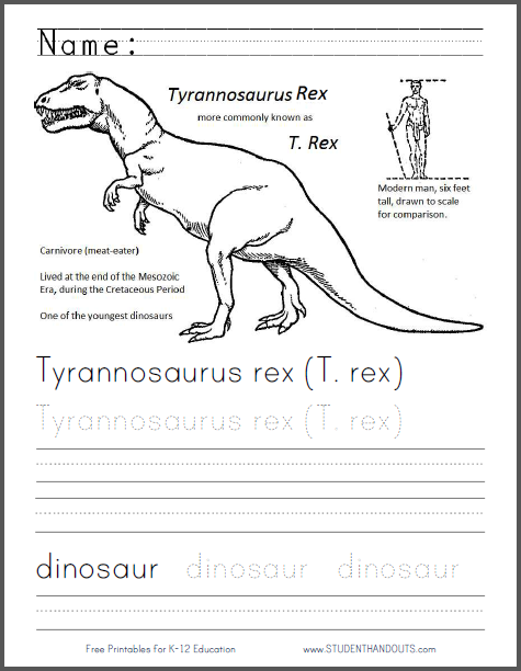 Tyrannosaurus Rex Worksheet For Kids