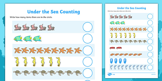 Under The Sea Counting Worksheet   Activity Sheet