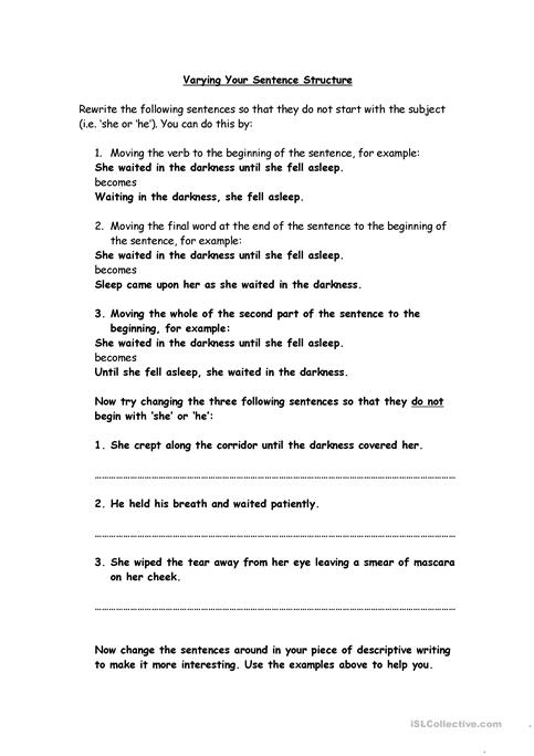 Varying Sentence Structure Worksheet The Best Worksheets Image