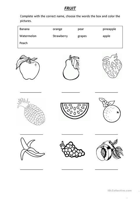 Vocabulary Fruit Worksheet