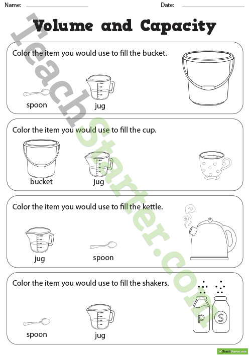 Volume And Capacity Coloring Worksheets Teaching Resource – Teach