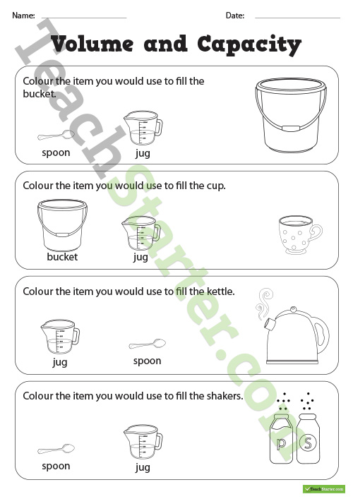 Volume And Capacity Colouring Worksheets Teaching Resource – Teach