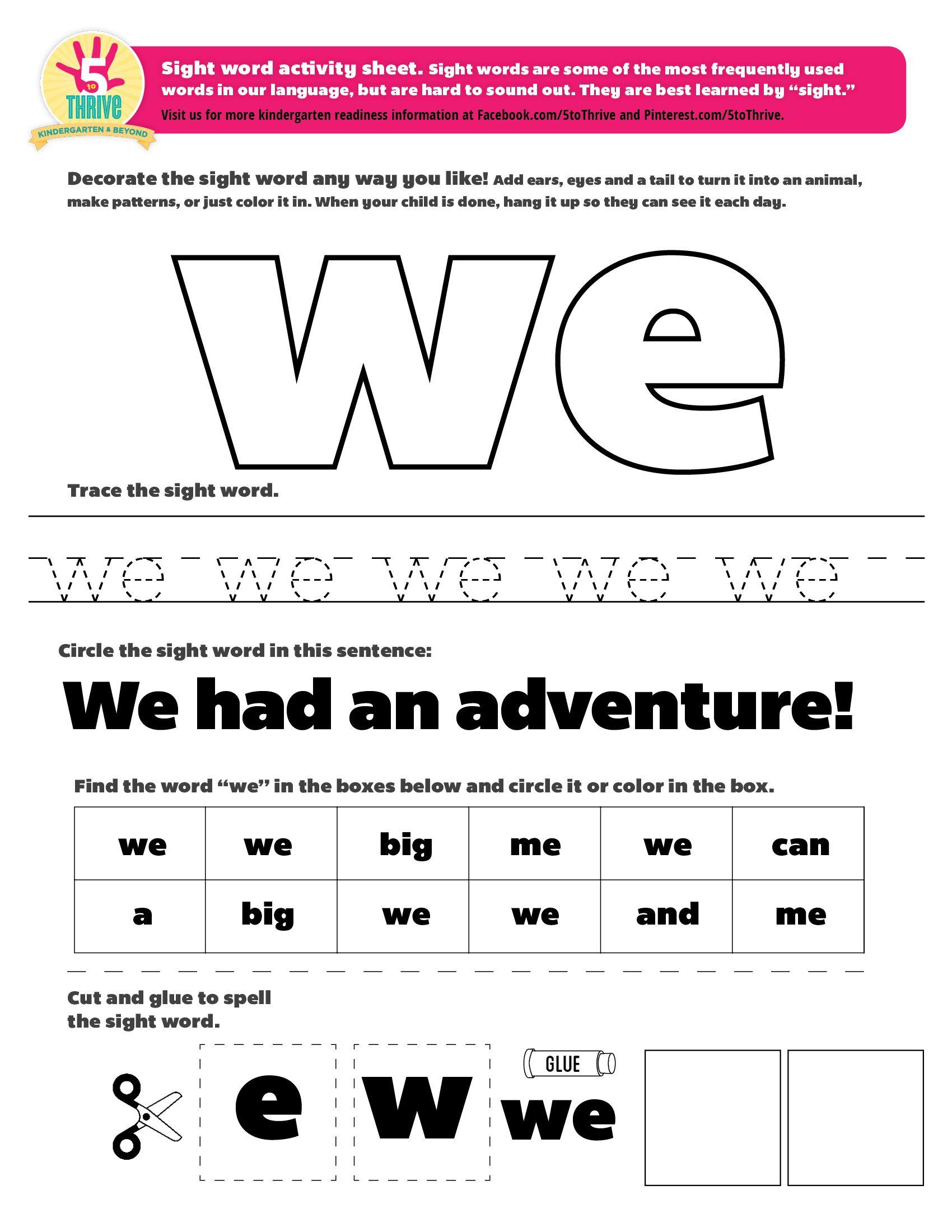 We Sight Word Worksheet 386758