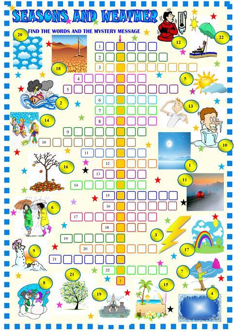 Weather Crossword Puzzle Worksheet