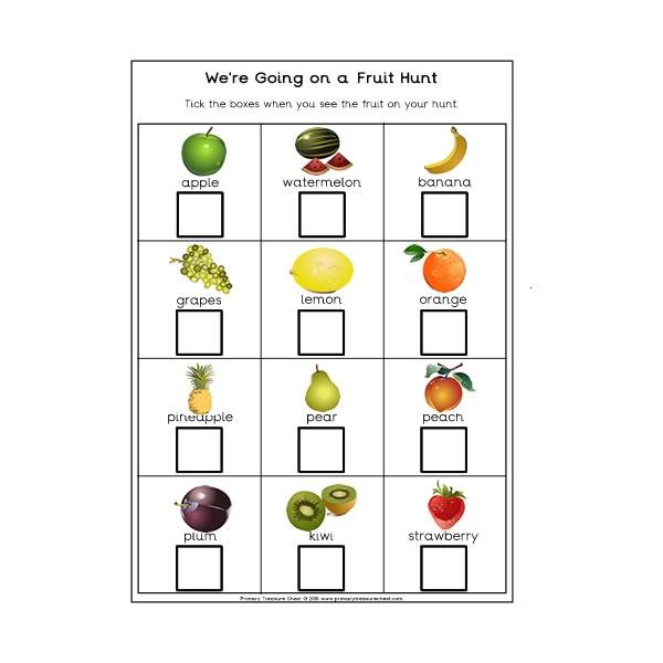We're Going On A Fruit Hunt Worksheet