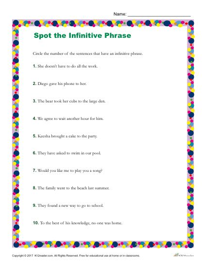 Which Sentence Contains An Infinitive Phrase