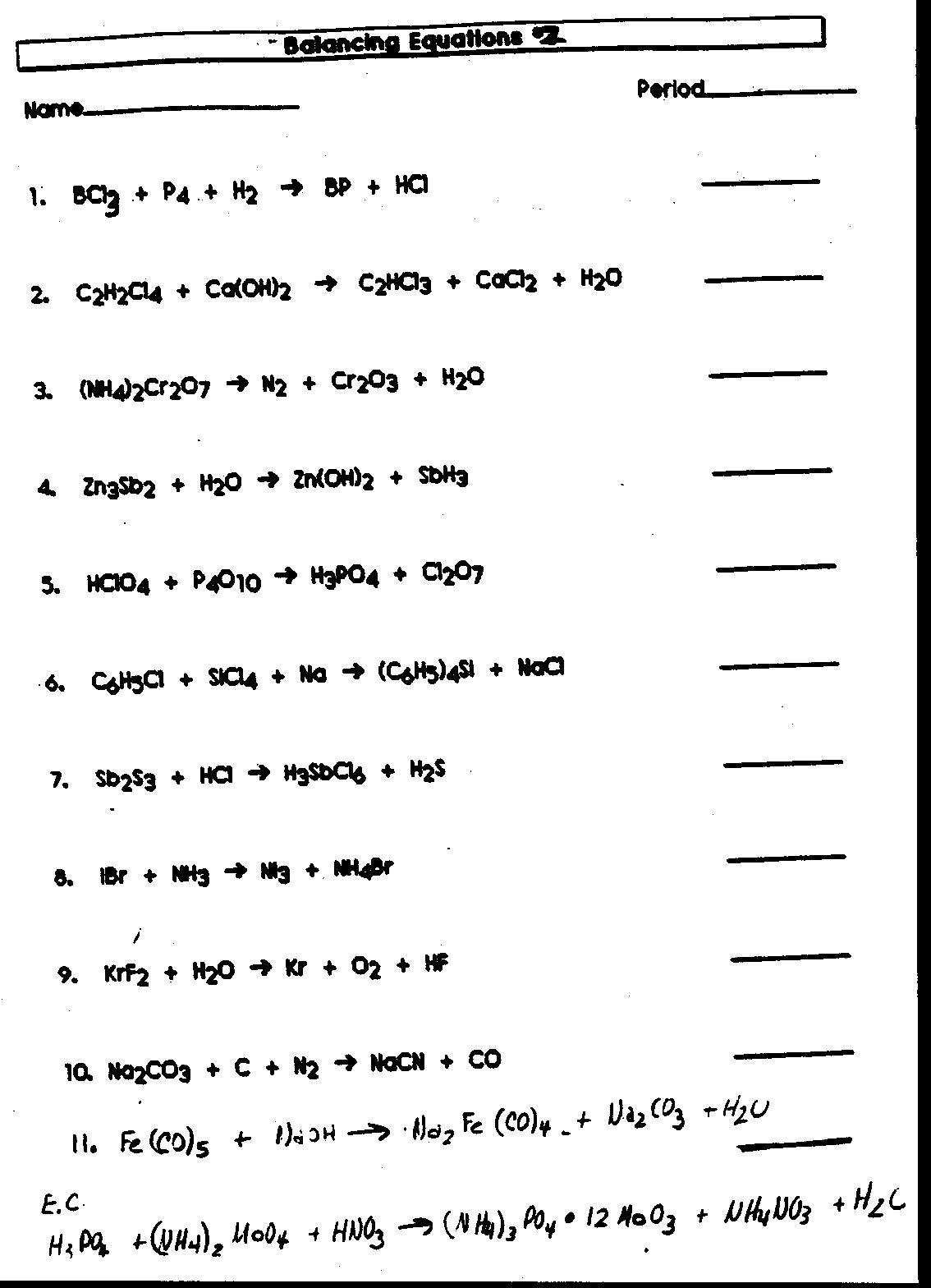 Word Equation Worksheet Chemistry Pichaglobal, Writing Equations