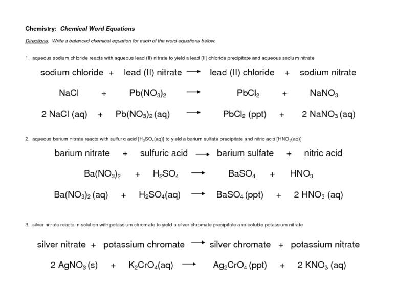 Word Equations Worksheet Chemistry The Best Worksheets Image