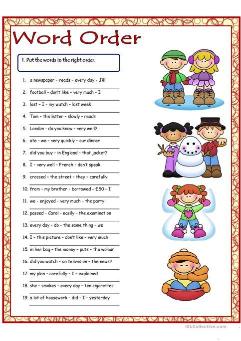 Word Order 1 Worksheet