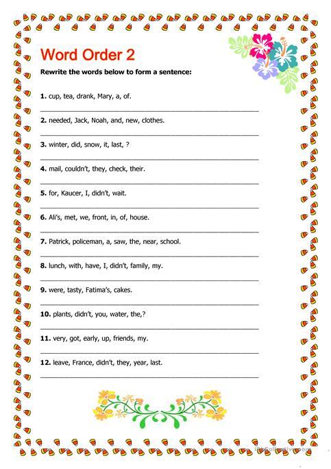 Word Order 2 Worksheet