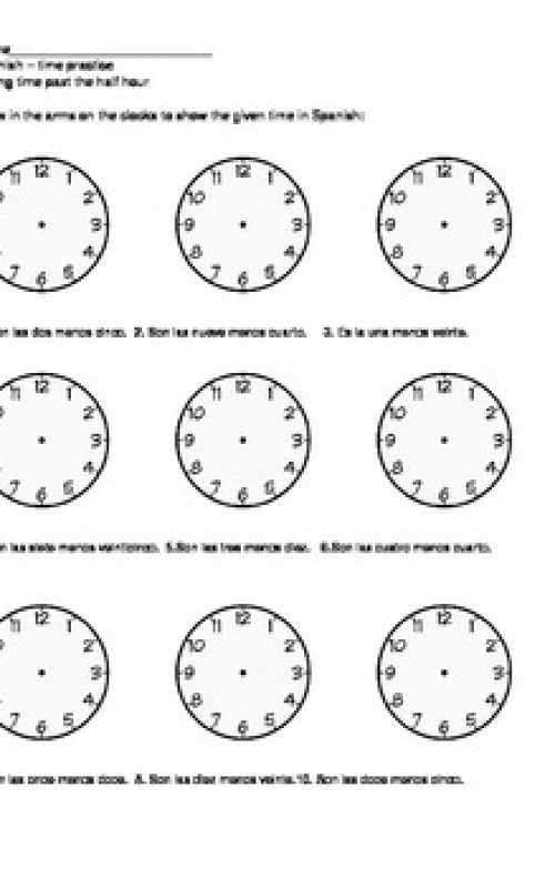 Worksheet About Time In Spanish & Formatted Templates Example