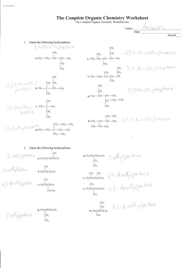 Worksheet Answers Chemistry  1011108