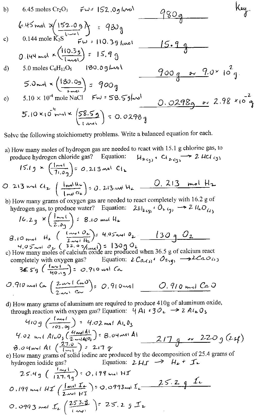 Worksheet Answers Chemistry  1011118