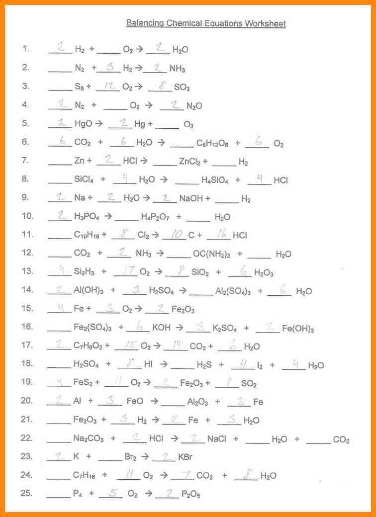 Worksheet Balancing Equations Answer Key 691643