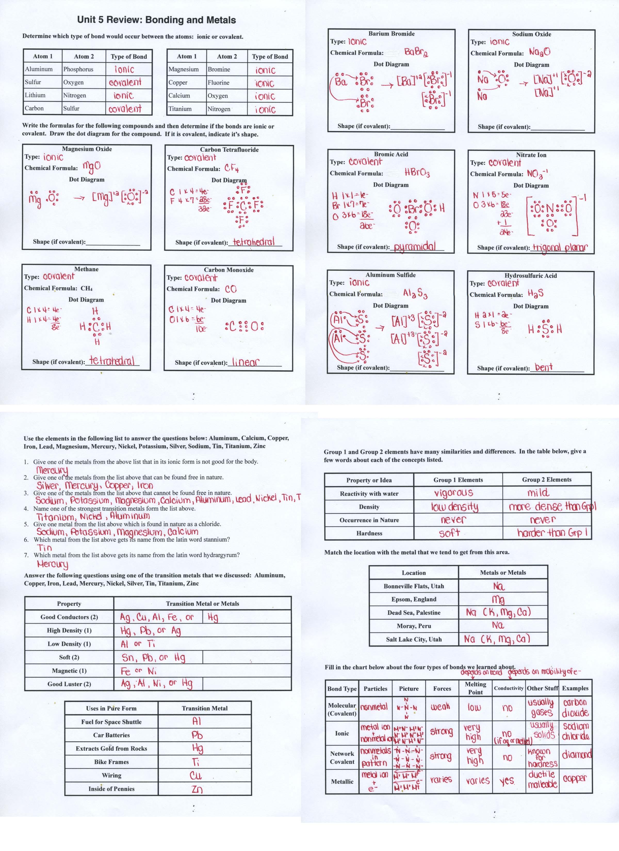 Worksheet Chemical Bonding Answers 594799