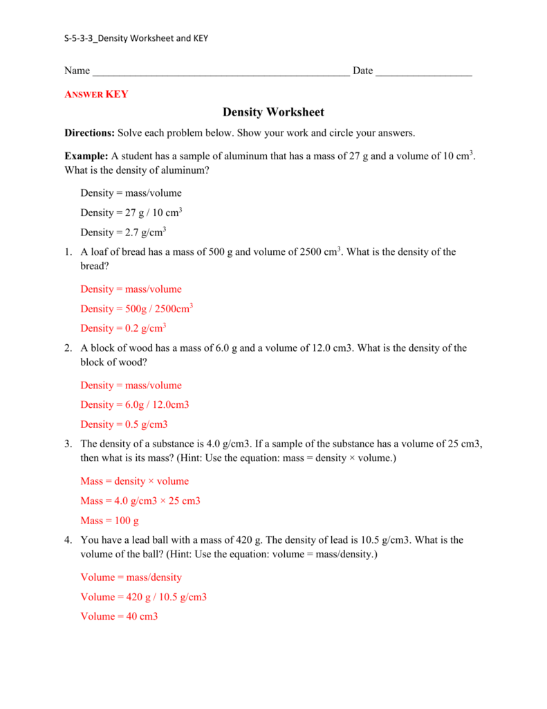 Worksheet Density Answer Key 2439276