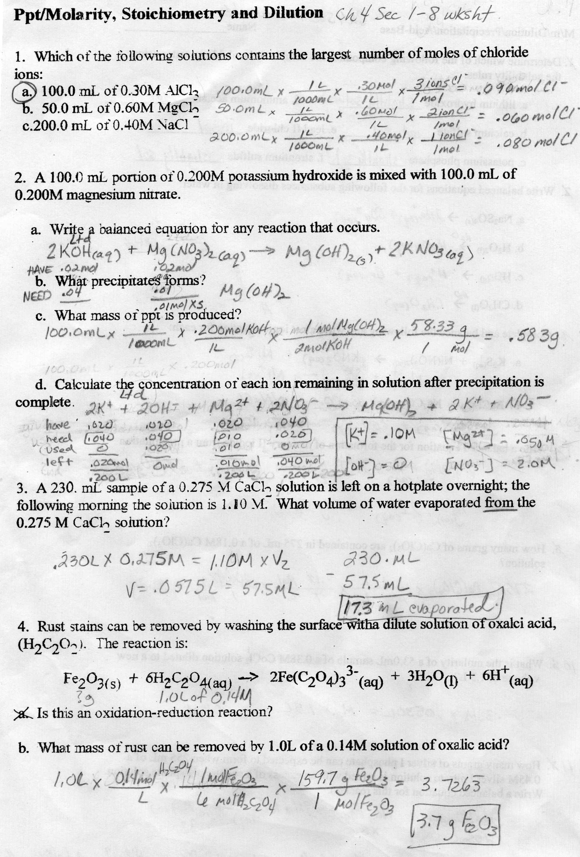 Printables Of Worksheet For Basic Stoichiometry Part 3 Answers