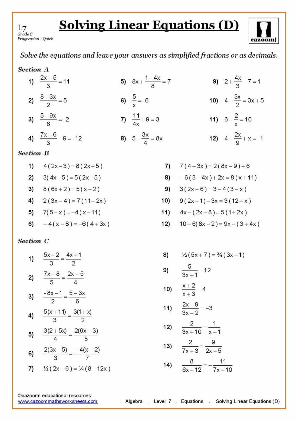 Worksheet Mixed Equations Grass Fedjp Study Site Ks3 Ks4 Maths
