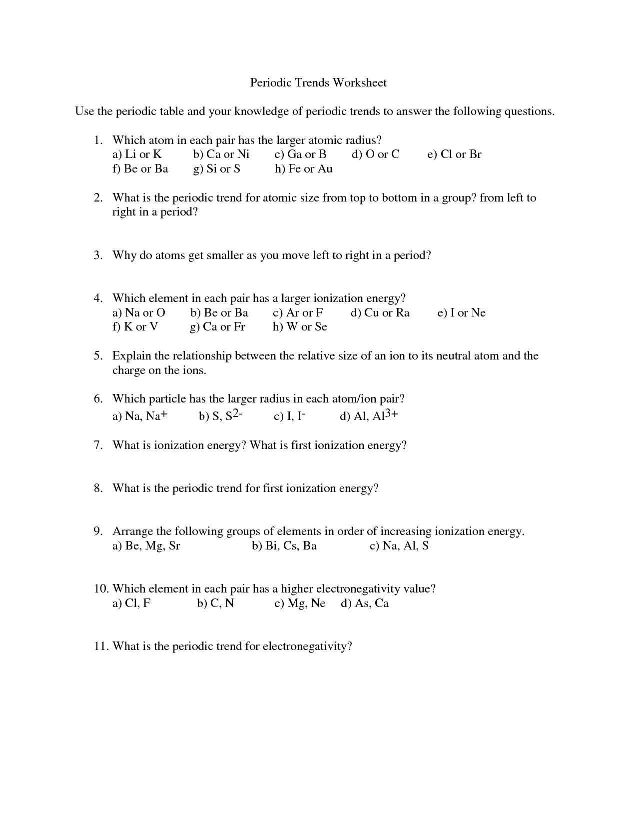 Worksheet Periodic Table Trends Answer Key