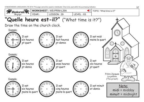 Worksheet Time French New French Ks2 Level 3 Ks3 Year 7 What Time