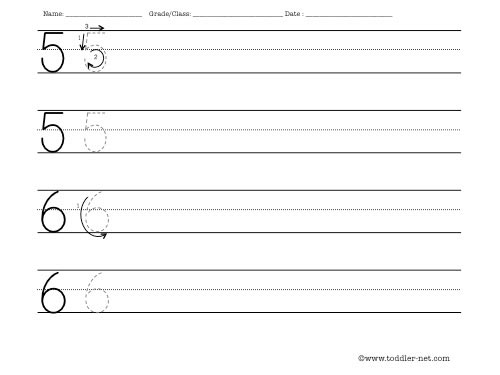 Worksheet To Practice Writing Numbers 5 And 6