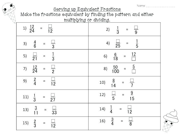 Worksheets  Free Equivalent Fractions Worksheets 5th Grade