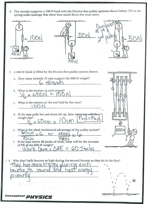 Worksheets  Mechanical Advantage And Efficiency Worksheet Answers