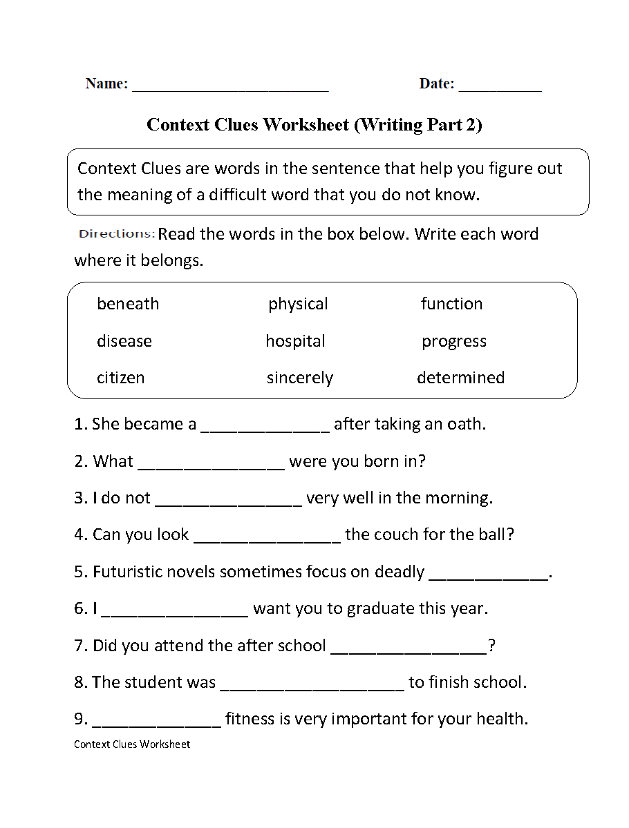 Worksheets For Context Clues Grade 3 1287955