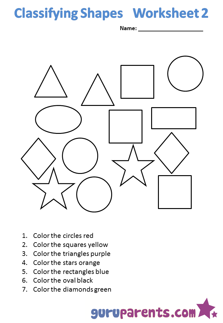 Worksheets For Kindergarten Math Shapes  1344814