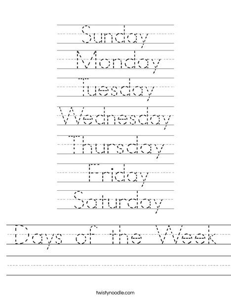 Worksheets For The Days Of The Week For Kindergarten 1087361