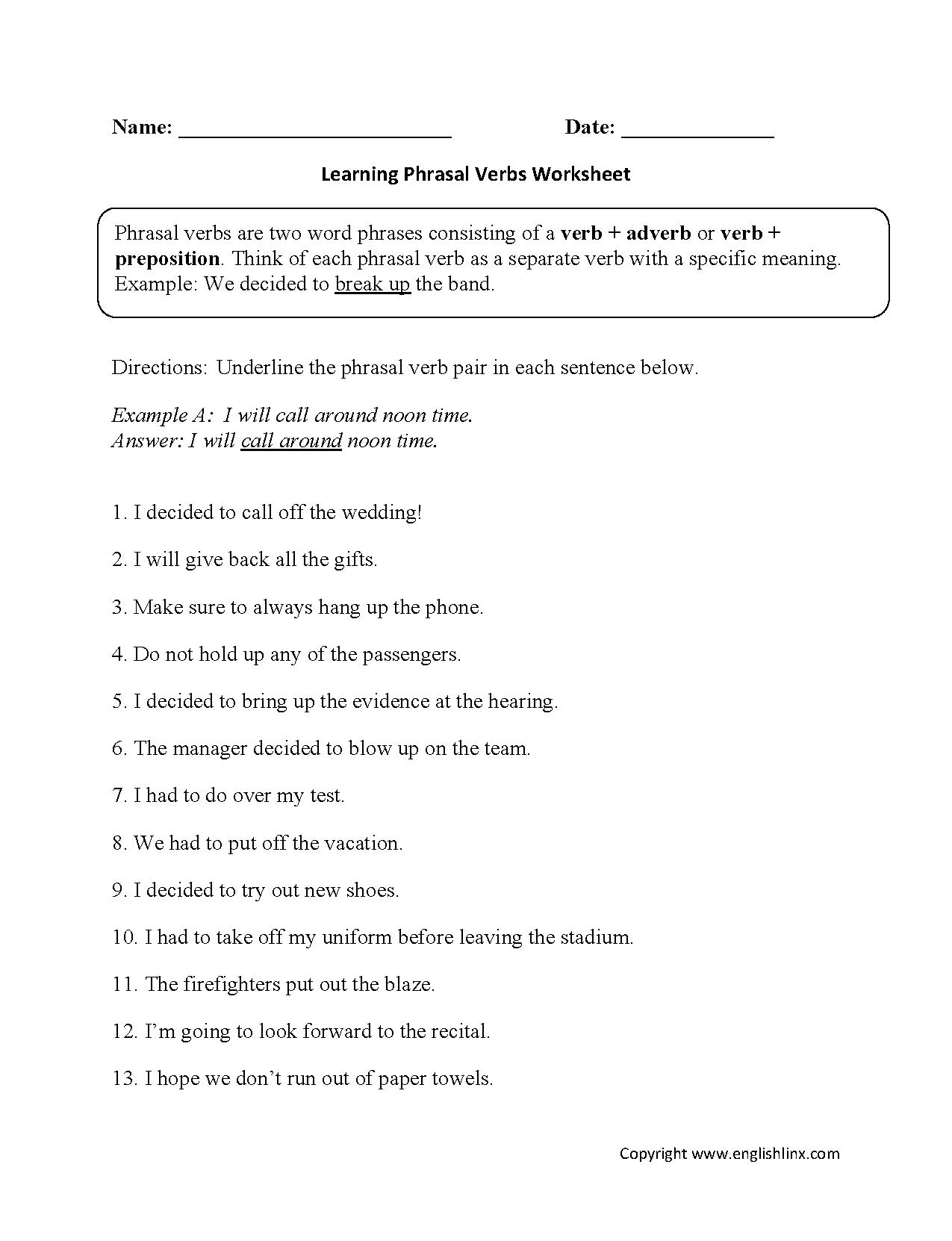 Worksheets Of Verbs 875346