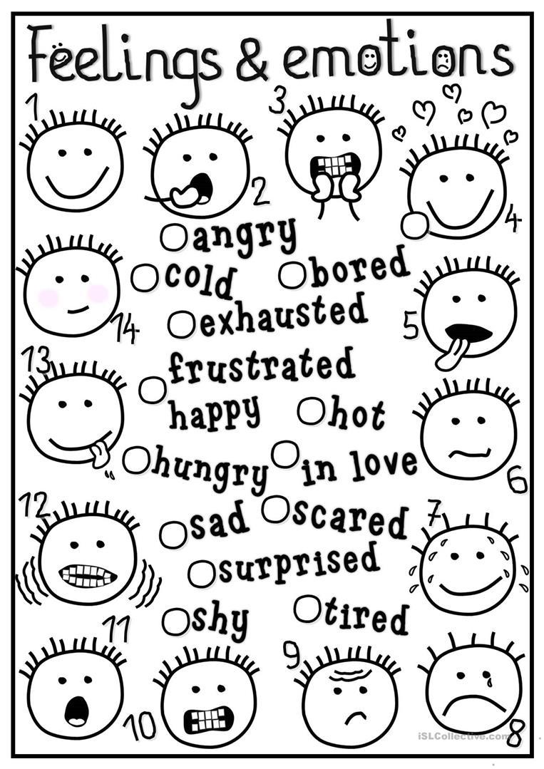 Worksheets On Emotions For Kindergarten  1367731