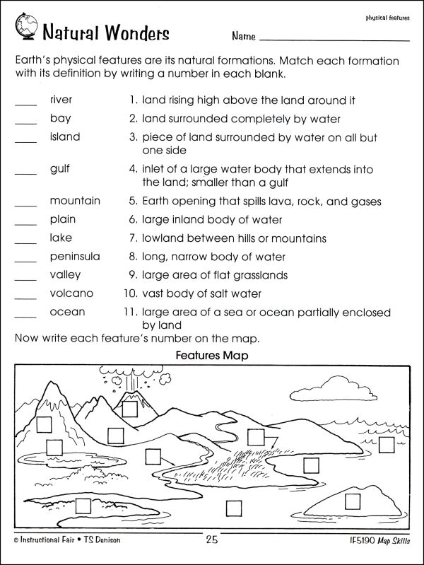World Map Worksheet For Second Grade