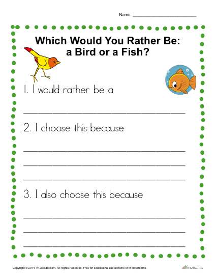 Would You Rather Be A Bird Or A Fish  Writing Prompt