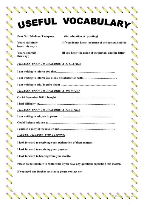 Writing A Complaint Letter Worksheet