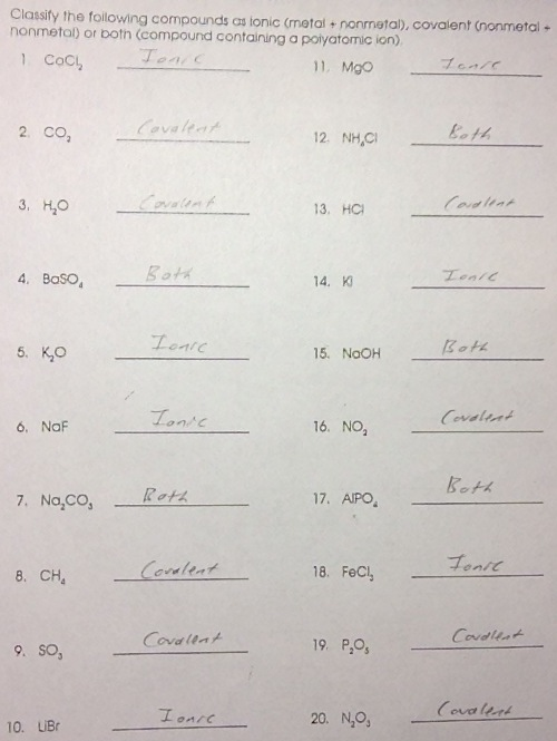 Writing Chemical Formulas For Compounds Worksheet
