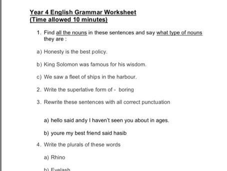 Year 4 Spag Worksheet Sats Practice By Manju03