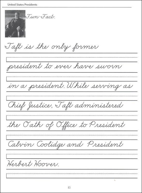 45 United States Presidents Character Writing Worksheets Zaner