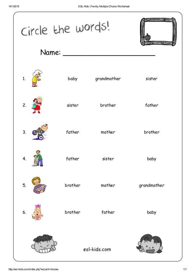Esl Kids Family Multiple Choice Worksheet