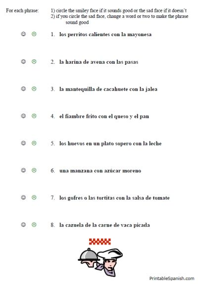Free Printable Spanish Worksheet Packet On Food Vocabulary Lunch