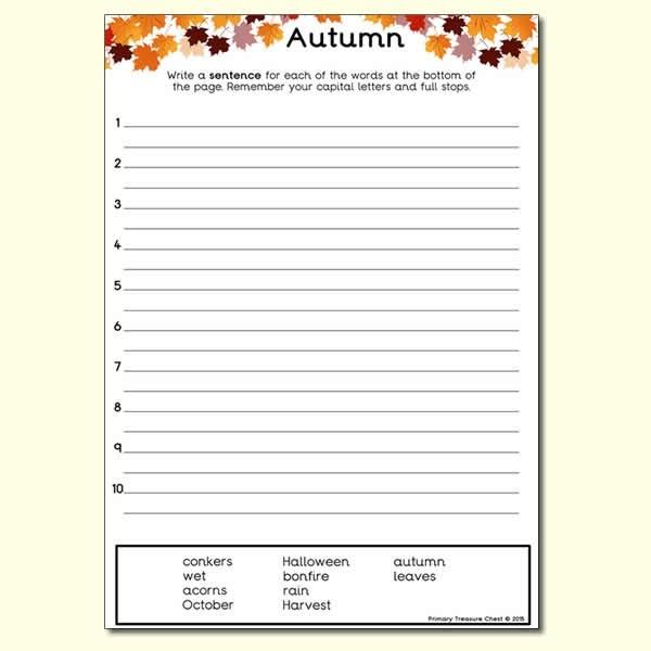 Autumn Themed Sentence Worksheet