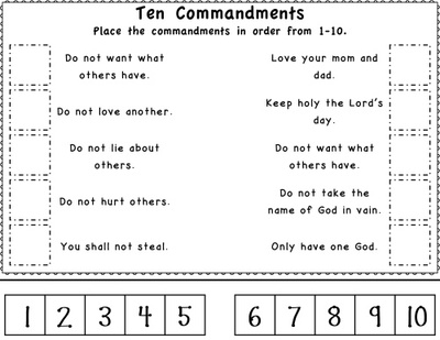 10 Commandments Worksheets For Kids