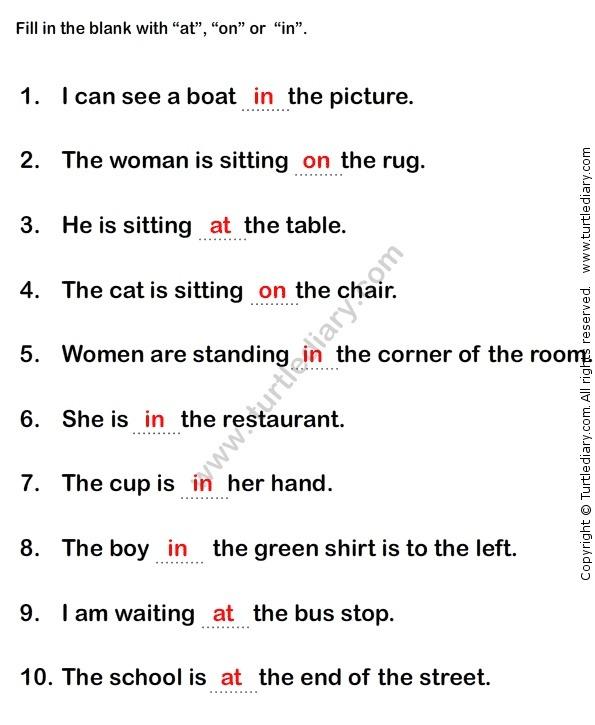 Prepositions Worksheet1