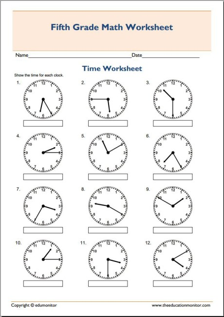 5th Grade Math Worksheets  Telling Time – Edumonitor