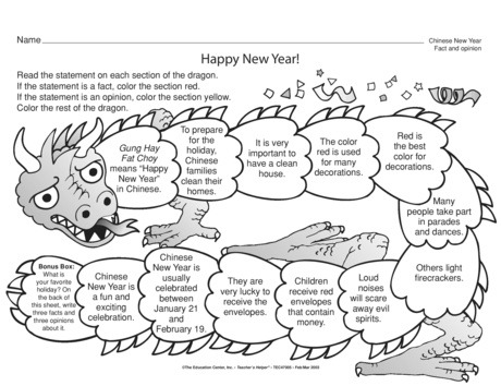 Free Chinese New Year Worksheets For Kids