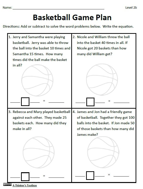 Basketball Math Madness No Prep Worksheets