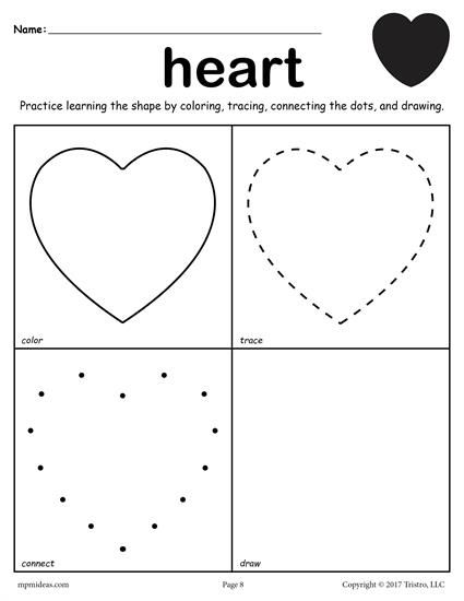 Free Heart Shape Worksheet  Color, Trace, Connect, & Draw