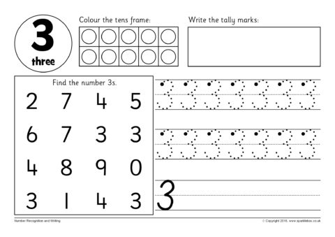 Number Recognition And Writing Worksheets (sb12354)