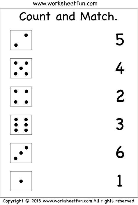 Numbers – Count And Match   Free Printable Worksheets