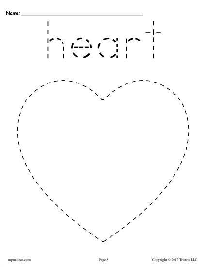 Free Heart Tracing Worksheet